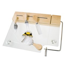 Plaque de verre pour fromages avec 4 ustensiles