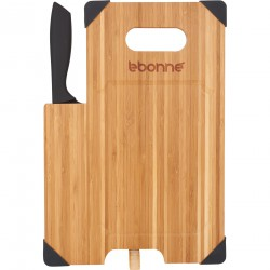 Planche à découper en bamboo avec couteau